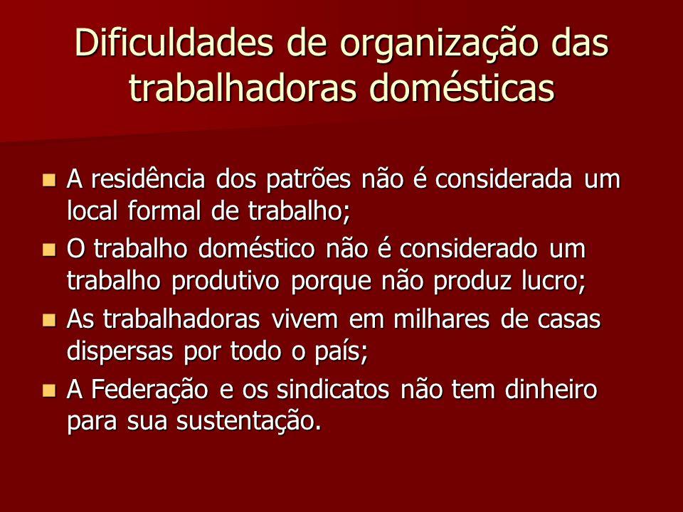 Dificuldades de organização das trabalhadoras domésticas