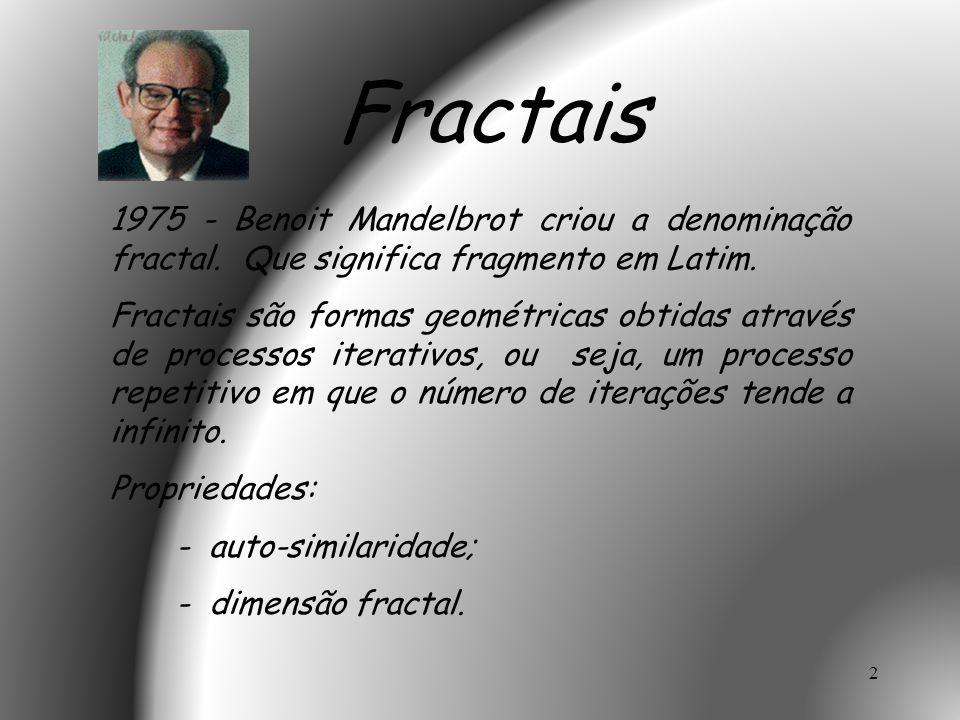 Fractais 1975 - Benoit Mandelbrot criou a denominação fractal. Que significa fragmento em Latim.