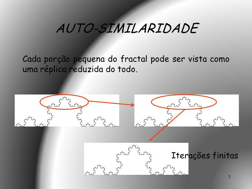 AUTO-SIMILARIDADE Cada porção pequena do fractal pode ser vista como uma réplica reduzida do todo.
