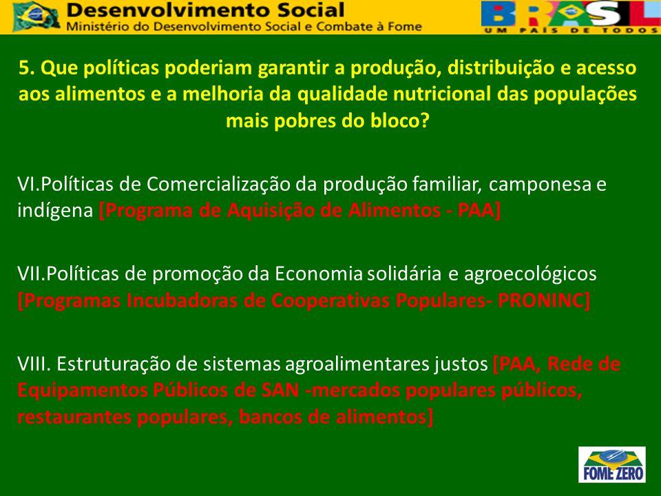 5. Que políticas poderiam garantir a produção, distribuição e acesso aos alimentos e a melhoria da qualidade nutricional das populações mais pobres do bloco