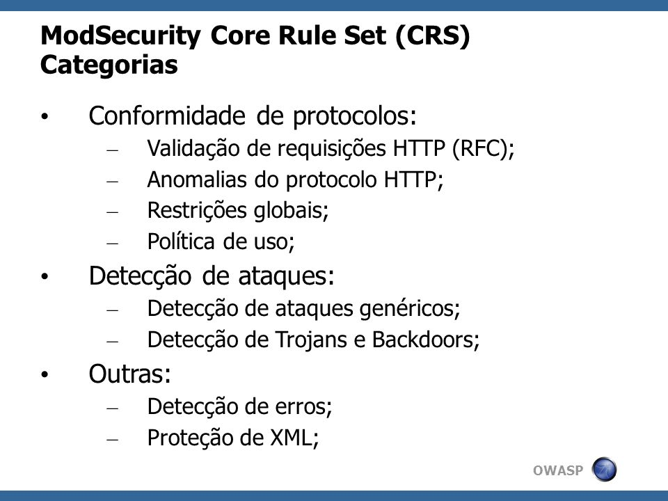 ModSecurity Core Rule Set (CRS) Categorias