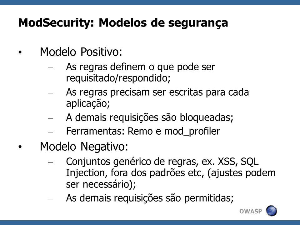 ModSecurity: Modelos de segurança