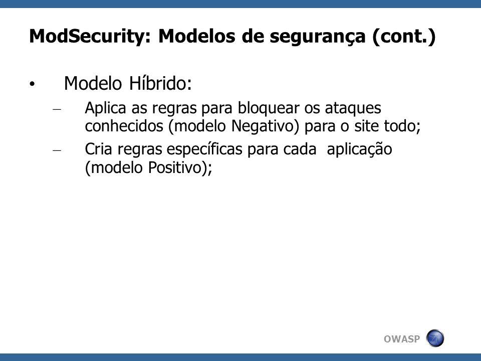 ModSecurity: Modelos de segurança (cont.)