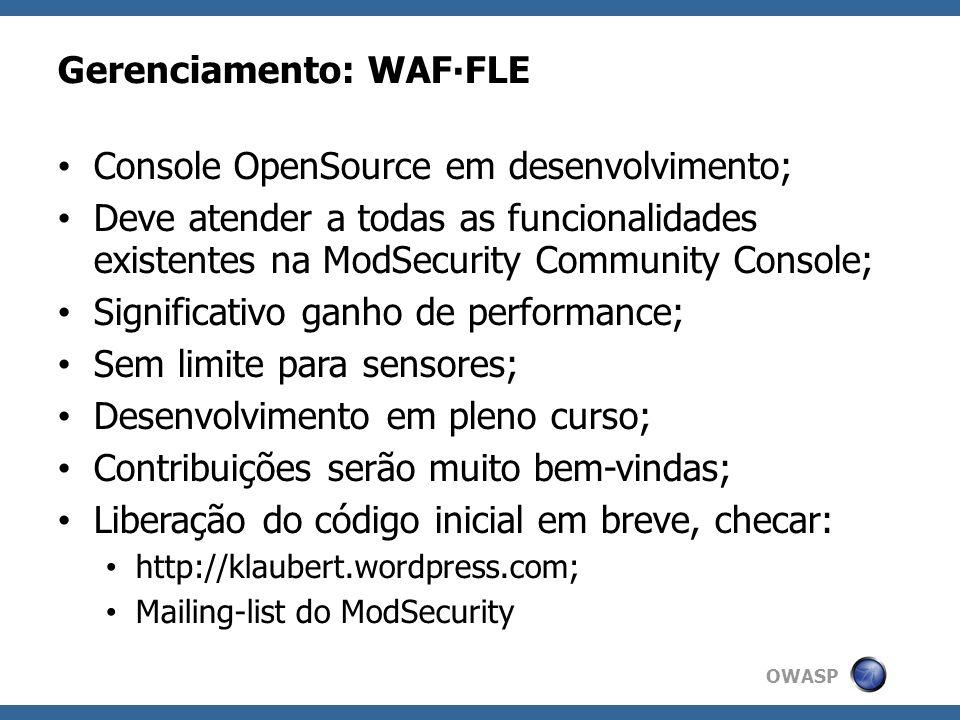 Gerenciamento: WAF∙FLE