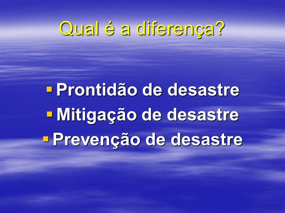 Qual é a diferença Prontidão de desastre Mitigação de desastre