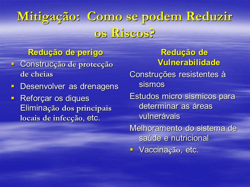 Mitigação: Como se podem Reduzir os Riscos