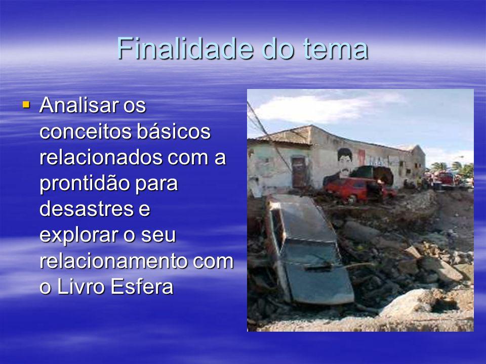 Finalidade do tema Analisar os conceitos básicos relacionados com a prontidão para desastres e explorar o seu relacionamento com o Livro Esfera.
