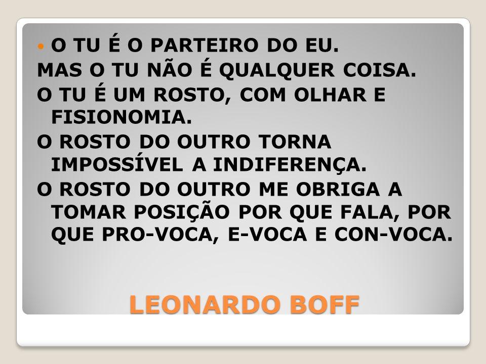 LEONARDO BOFF O TU É O PARTEIRO DO EU. MAS O TU NÃO É QUALQUER COISA.