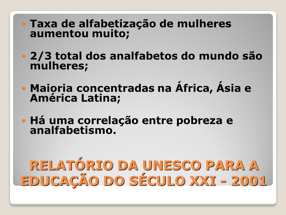 RELATÓRIO DA UNESCO PARA A EDUCAÇÃO DO SÉCULO XXI - 2001