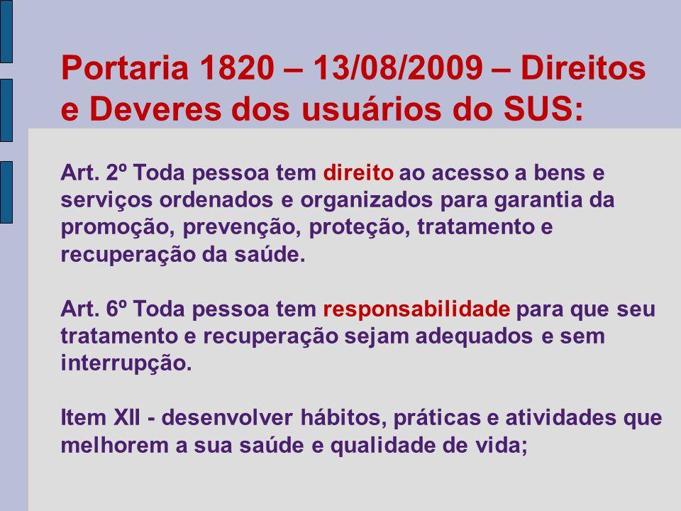 Portaria 1820 – 13/08/2009 – Direitos e Deveres dos usuários do SUS: