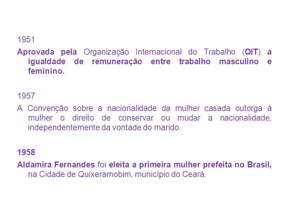 1951 Aprovada pela Organização Internacional do Trabalho (OIT) a igualdade de remuneração entre trabalho masculino e feminino.