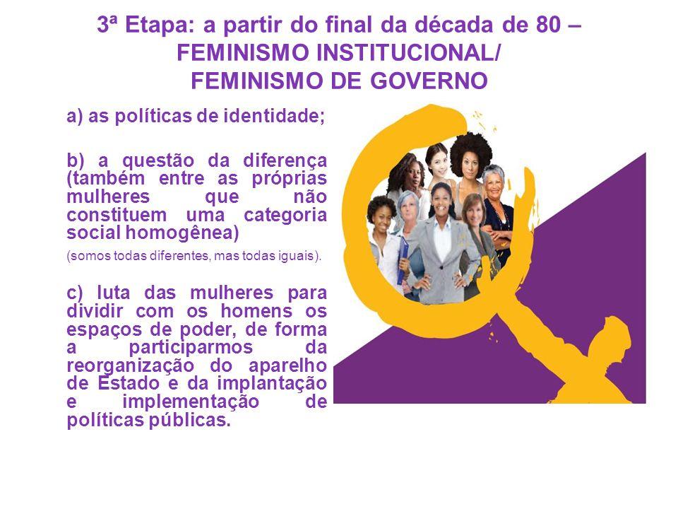 3ª Etapa: a partir do final da década de 80 – FEMINISMO INSTITUCIONAL/ FEMINISMO DE GOVERNO