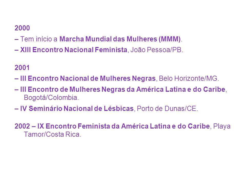 2000 – Tem início a Marcha Mundial das Mulheres (MMM)