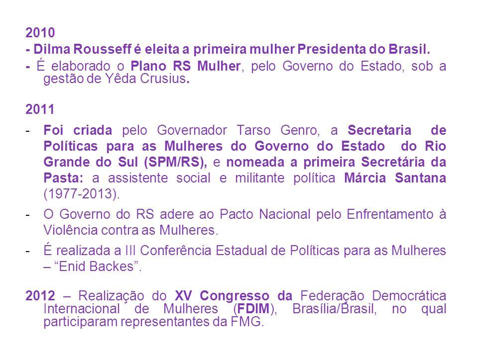 2010 - Dilma Rousseff é eleita a primeira mulher Presidenta do Brasil.