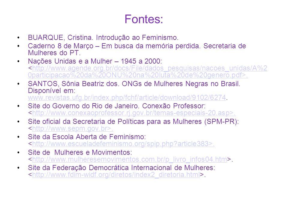 Fontes: BUARQUE, Cristina. Introdução ao Feminismo.