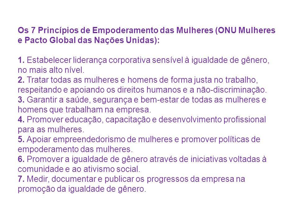 Os 7 Princípios de Empoderamento das Mulheres (ONU Mulheres e Pacto Global das Nações Unidas): 1.