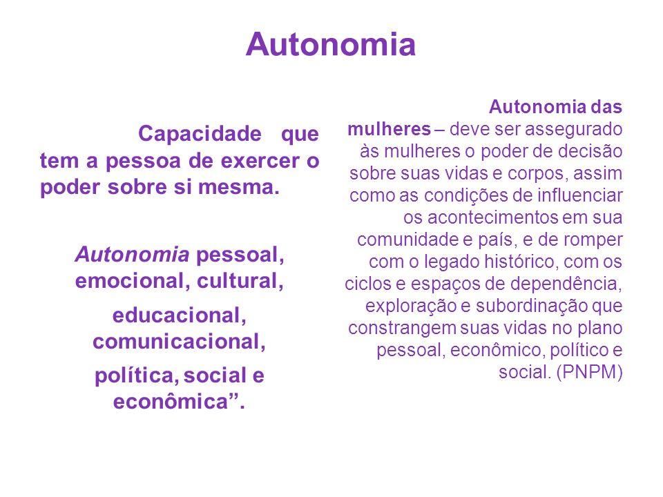 Autonomia Autonomia pessoal, emocional, cultural,