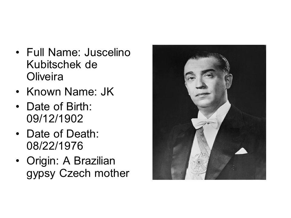 Full Name: Juscelino Kubitschek de Oliveira