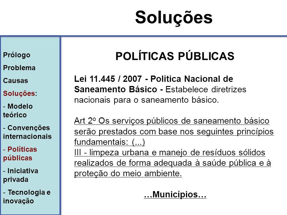Soluções POLÍTICAS PÚBLICAS