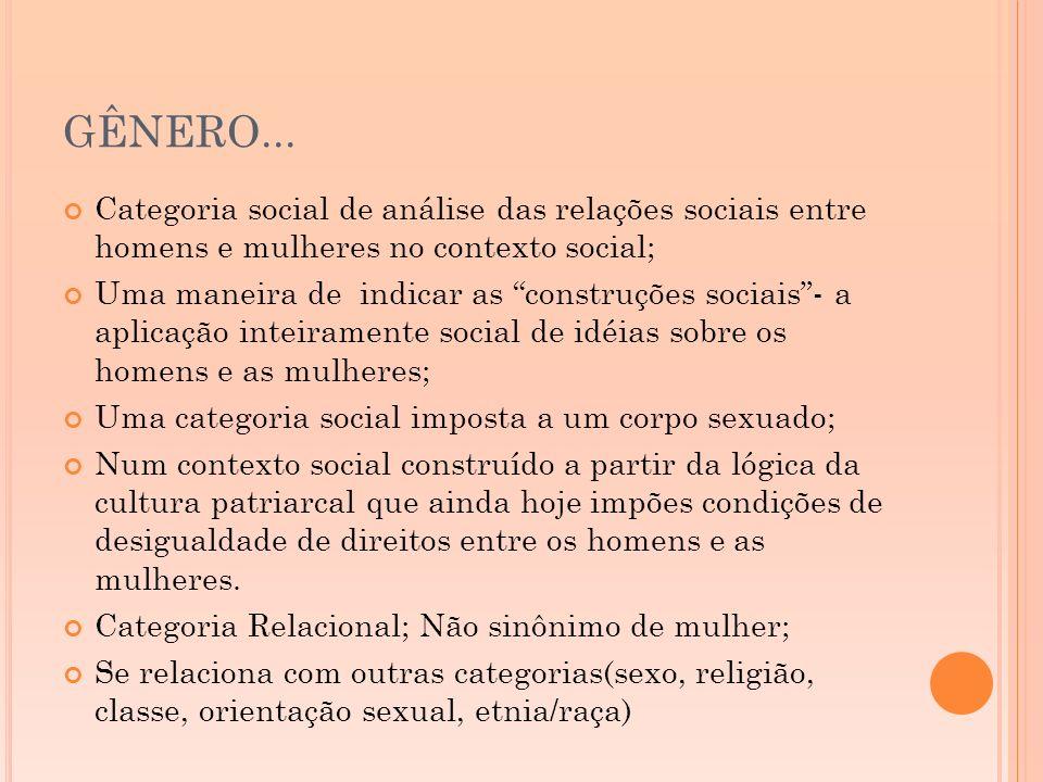GÊNERO... Categoria social de análise das relações sociais entre homens e mulheres no contexto social;