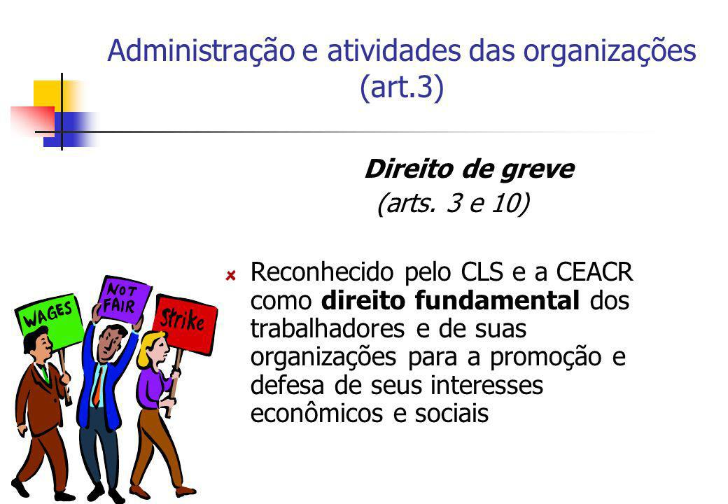 Administração e atividades das organizações (art.3)