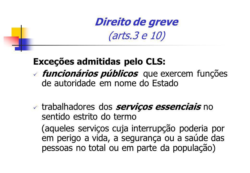 Direito de greve (arts.3 e 10) Exceções admitidas pelo CLS: