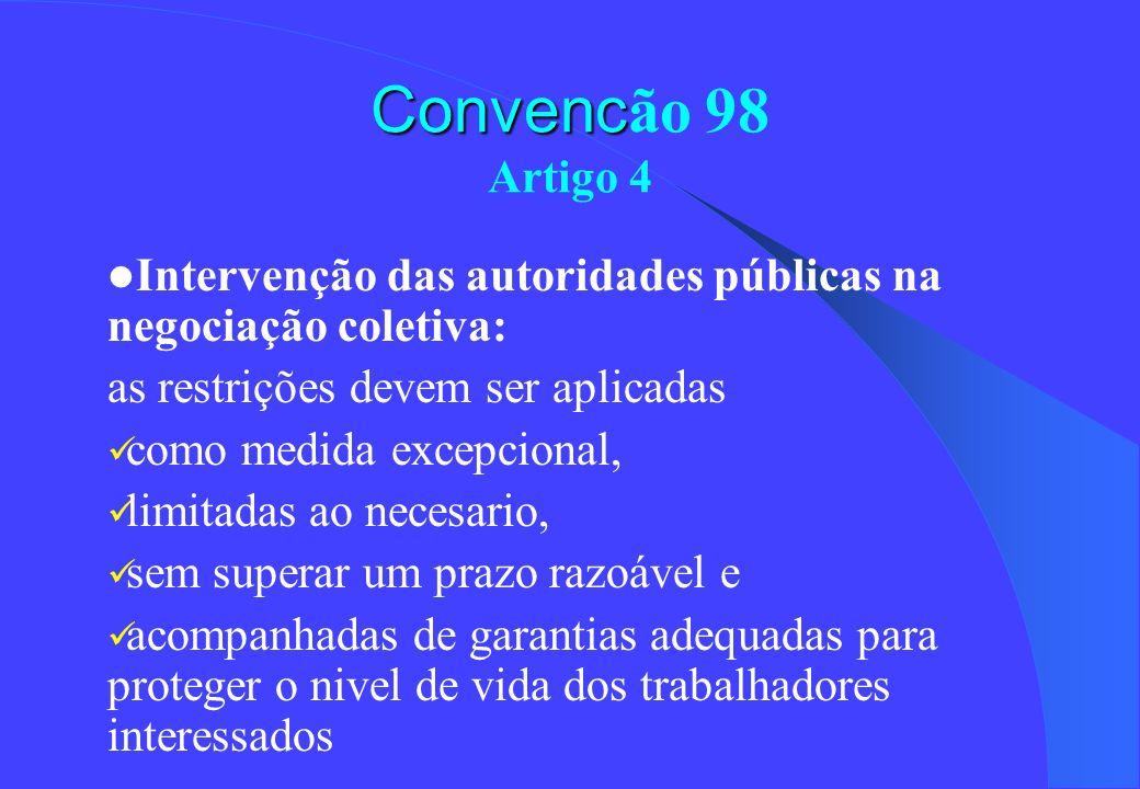 Convencão 98 Artigo 4Intervenção das autoridades públicas na negociação coletiva: as restrições devem ser aplicadas.