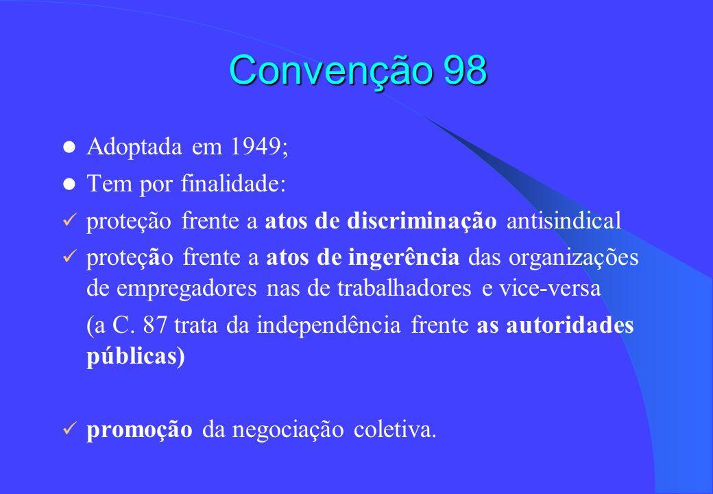 Convenção 98 Adoptada em 1949; Tem por finalidade: