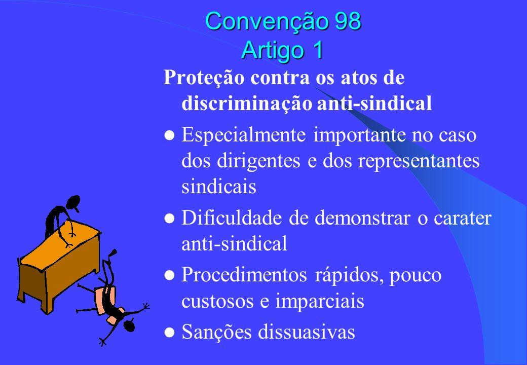 Convenção 98 Artigo 1 Proteção contra os atos de discriminação anti-sindical.