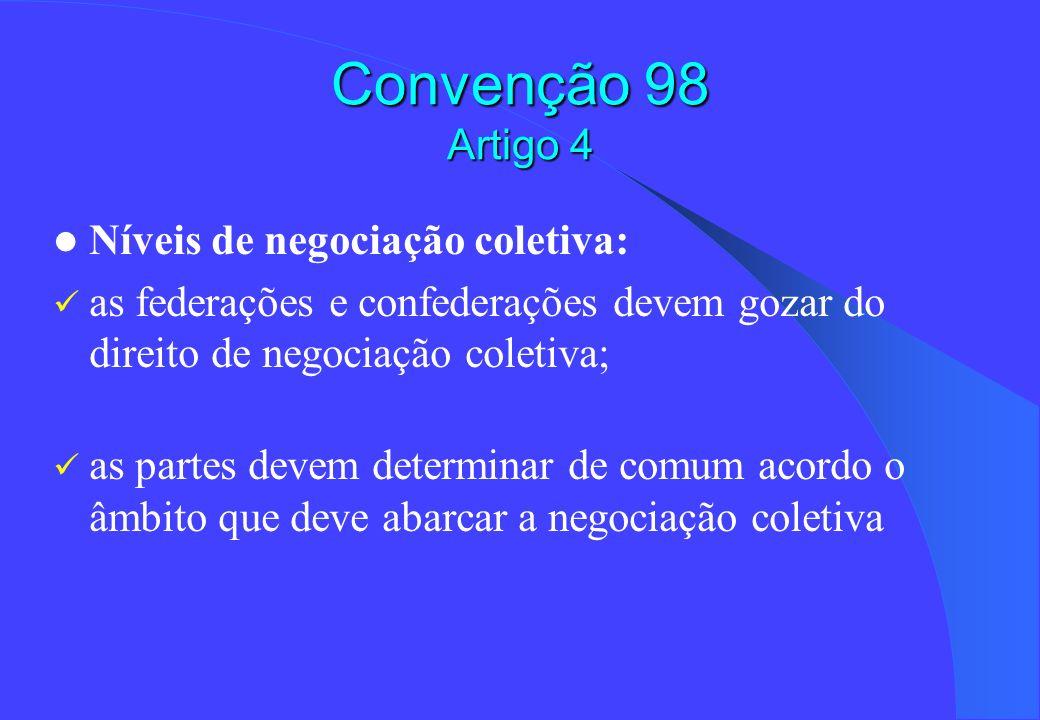 Convenção 98 Artigo 4 Níveis de negociação coletiva: