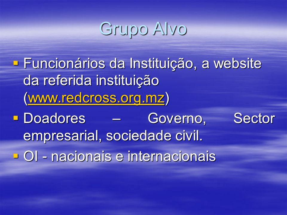 Grupo Alvo Funcionários da Instituição, a website da referida instituição (www.redcross.org.mz)