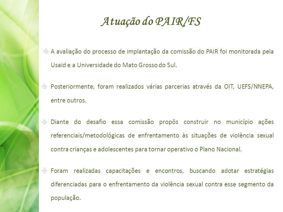 Atuação do PAIR/FS A avaliação do processo de implantação da comissão do PAIR foi monitorada pela Usaid e a Universidade do Mato Grosso do Sul.