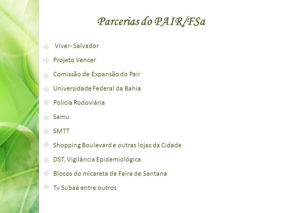 Parcerias do PAIR/FSa Viver- Salvador Projeto Vencer