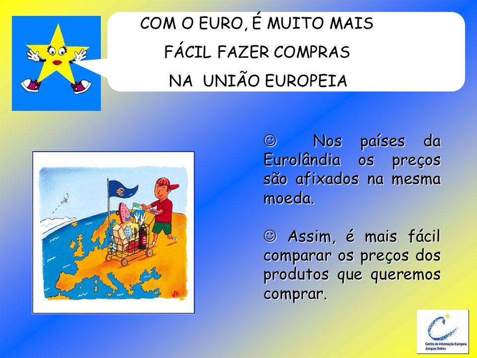 COM O EURO, É MUITO MAISFÁCIL FAZER COMPRAS. NA UNIÃO EUROPEIA.  Nos países da Eurolândia os preços são afixados na mesma moeda.