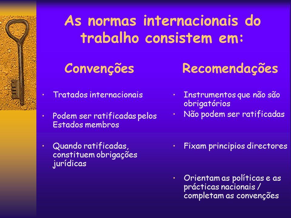 As normas internacionais do trabalho consistem em: