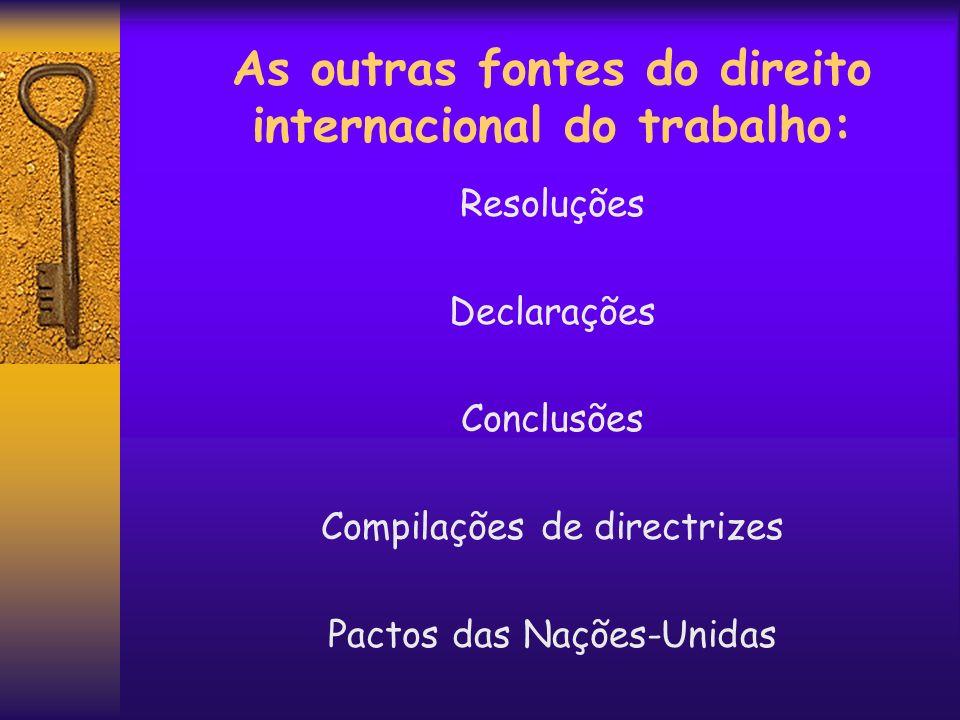 As outras fontes do direito internacional do trabalho: