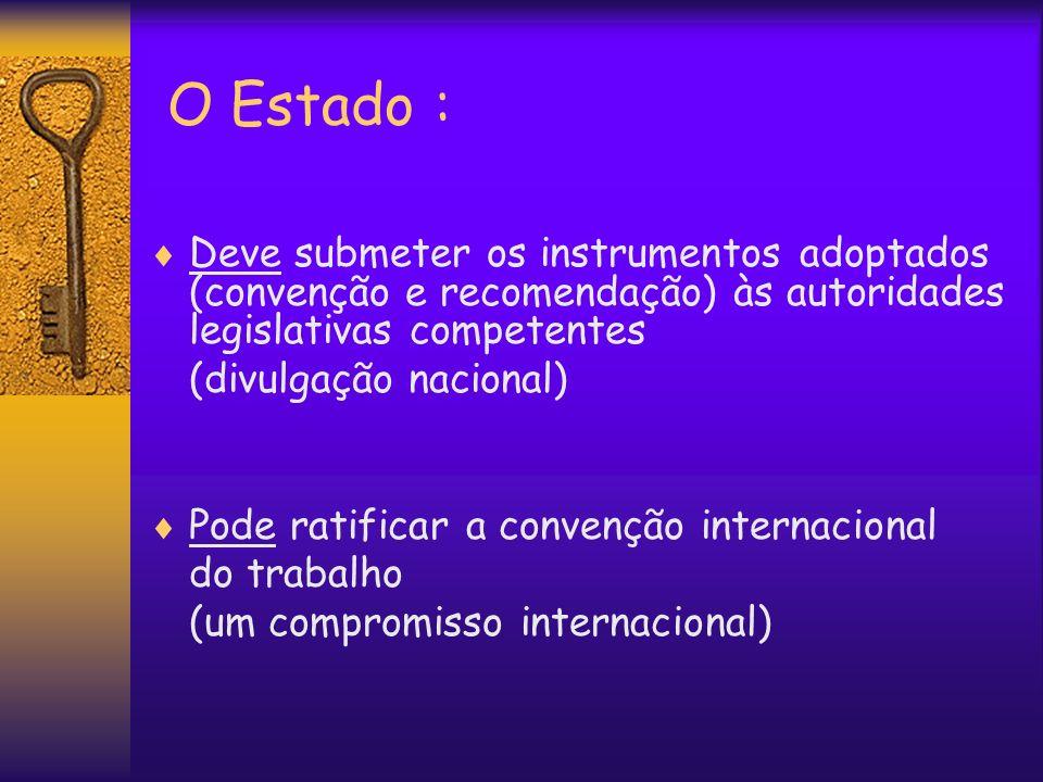 O Estado : Deve submeter os instrumentos adoptados (convenção e recomendação) às autoridades legislativas competentes.