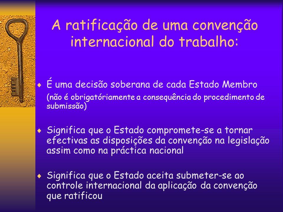 A ratificação de uma convenção internacional do trabalho: