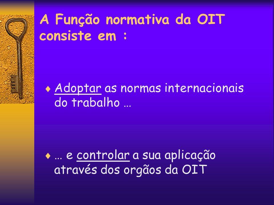 A Função normativa da OIT consiste em :