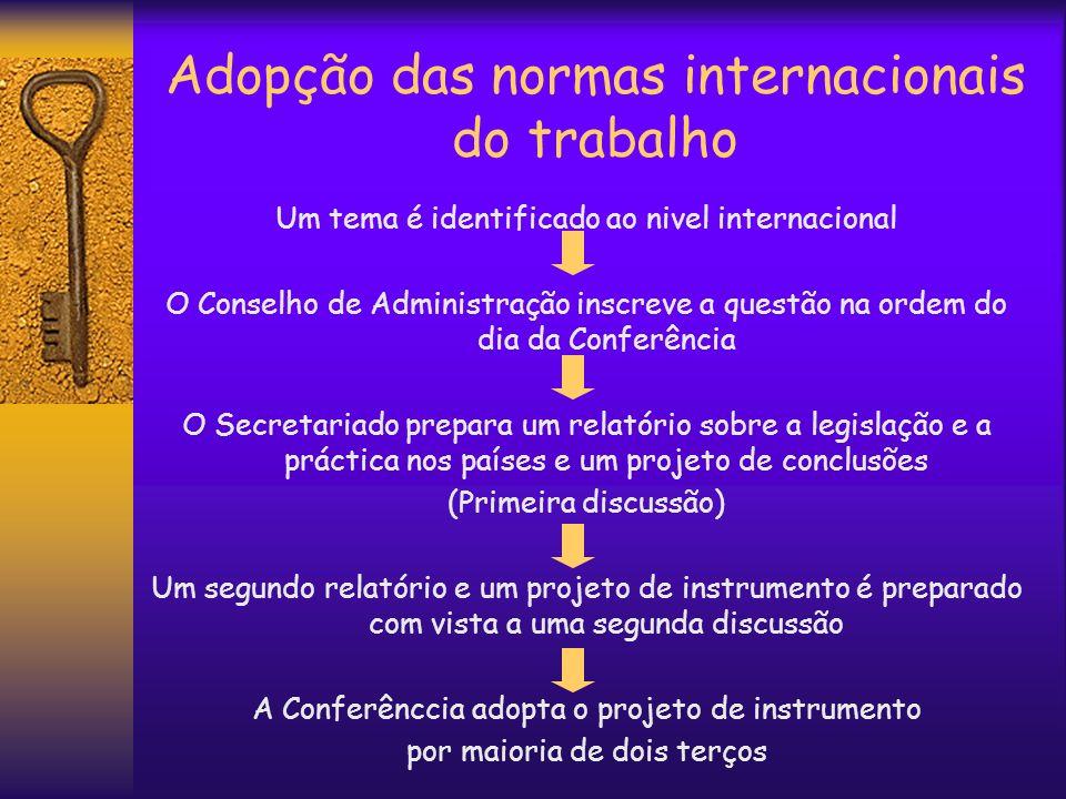 Adopção das normas internacionais do trabalho