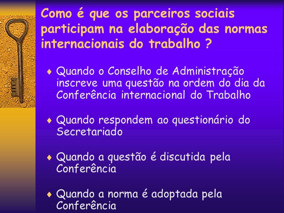 Como é que os parceiros sociais participam na elaboração das normas internacionais do trabalho