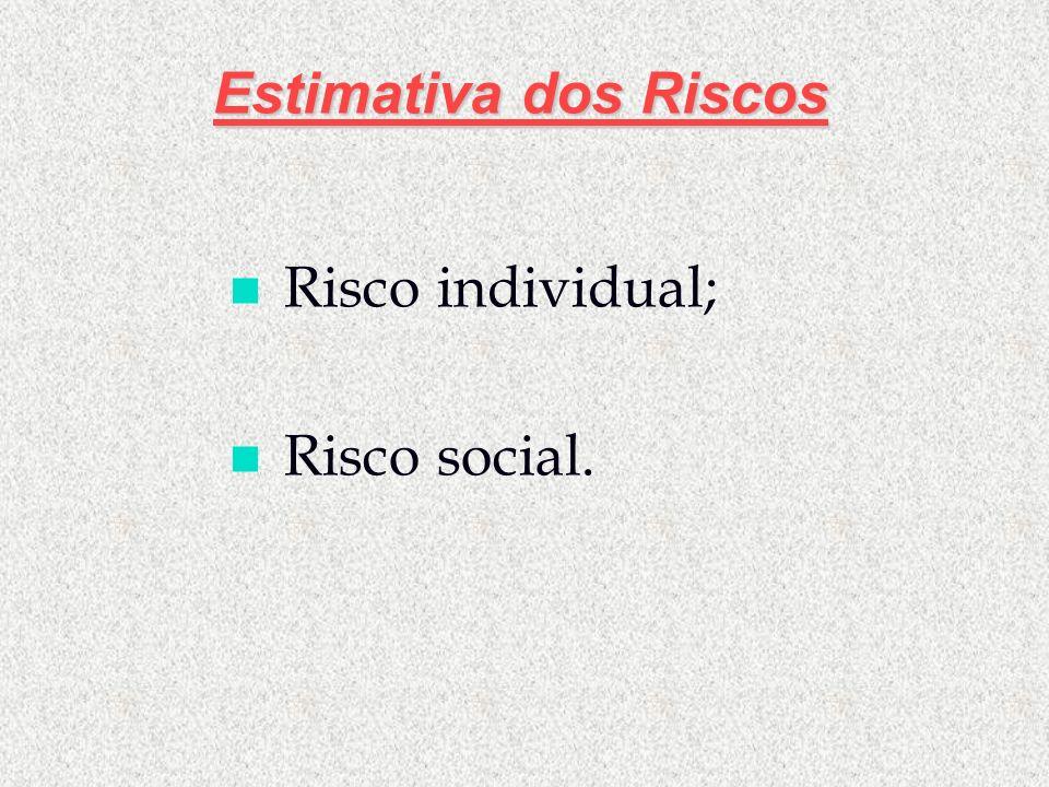 Estimativa dos Riscos Risco individual; Risco social.
