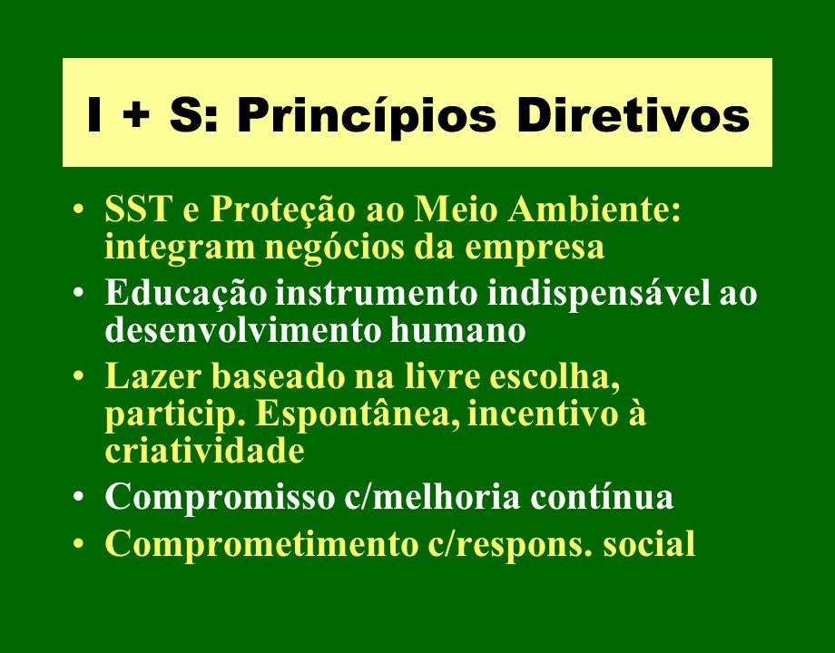 I + S: Princípios Diretivos