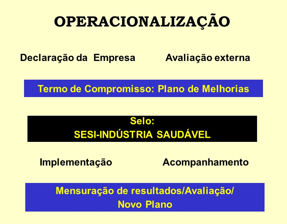 OPERACIONALIZAÇÃO Declaração da Empresa Avaliação externa