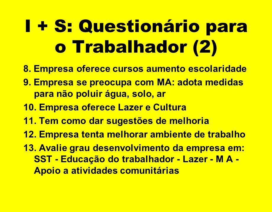 I + S: Questionário para o Trabalhador (2)