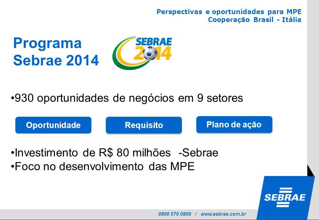 Programa Sebrae 2014 930 oportunidades de negócios em 9 setores