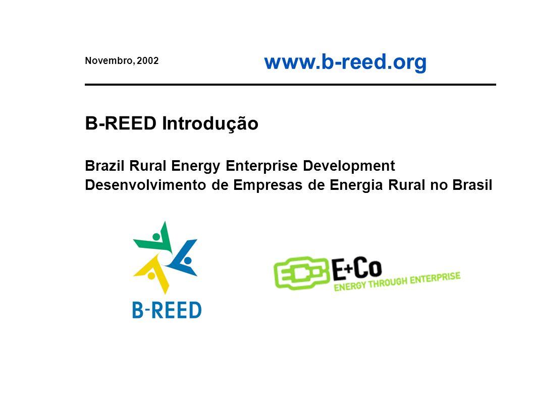Novembro, 2002 B-REED Introdução Brazil Rural Energy Enterprise Development Desenvolvimento de Empresas de Energia Rural no Brasil.