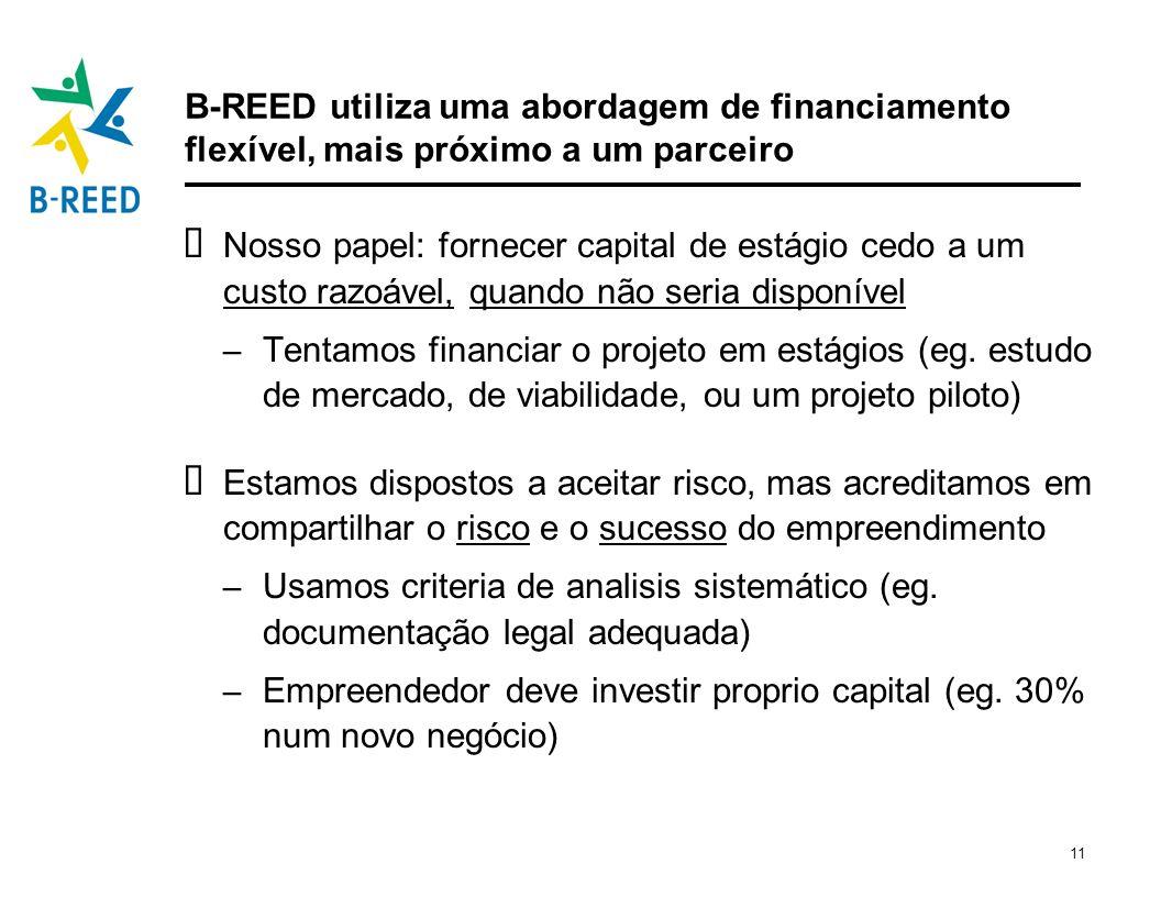 B-REED utiliza uma abordagem de financiamento flexível, mais próximo a um parceiro