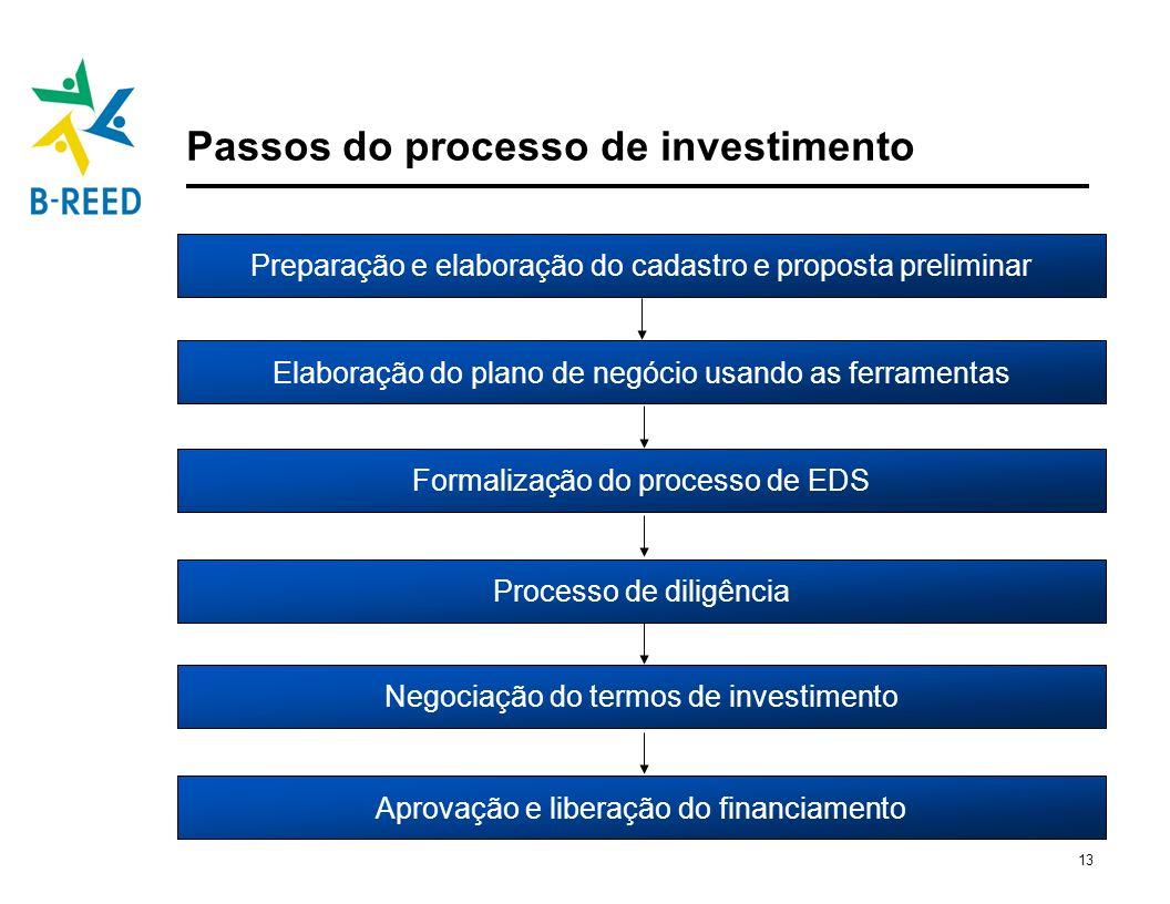 Passos do processo de investimento
