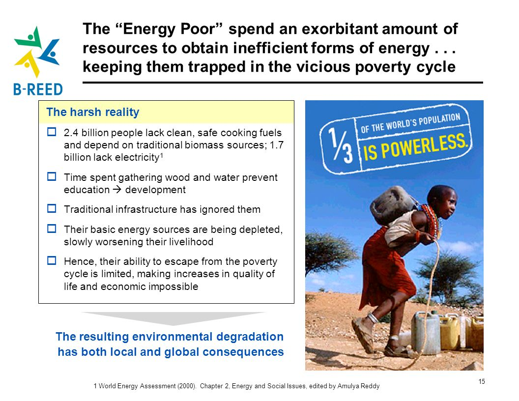 The Energy Poor spend an exorbitant amount of resources to obtain inefficient forms of energy keeping them trapped in the vicious poverty cycle